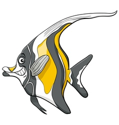 Moorish idol fish character vector
