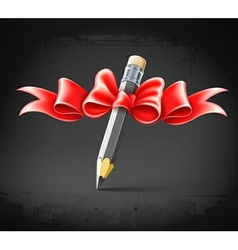 pencil decorated by bow on vector image vector image