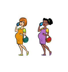 set black and white pregnant woman with phone vector image