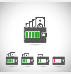 Set of wallet icons vector