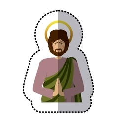 Sticker half body picture saint joseph praying vector