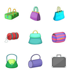 Various types of bags icons set cartoon style vector