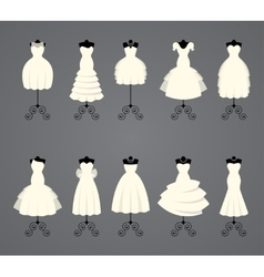 Wedding dresses in different styles vector