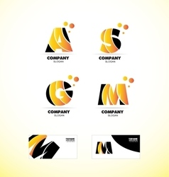 Yellow letter alphabet icon logo set vector