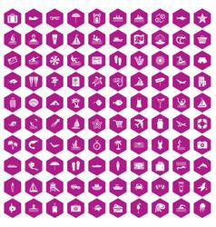 100 beach icons hexagon violet vector