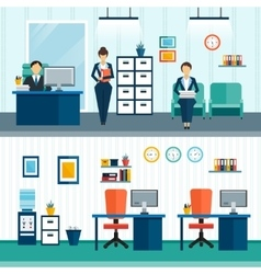 Office interior compositions vector