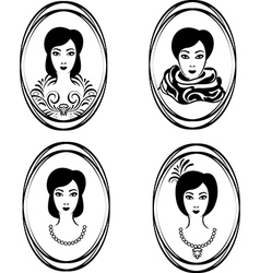 portrait of a girl in a locket vector image