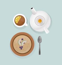 semolina porridge breakfast top view vector image