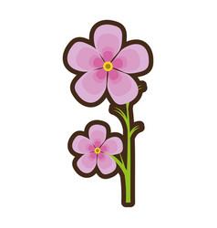 Cartoon magnolia flower flora ornament vector
