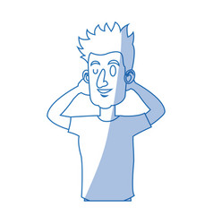 character man with arms up relaxed attitude vector image