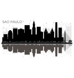 Sao paulo city skyline black and white silhouette vector
