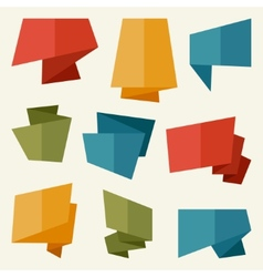Origami banners and speech bubbles in flat design vector image