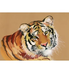 Watercolor tiger on a brown background vector