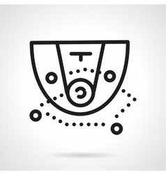 Black simple line basketball tactic icon vector