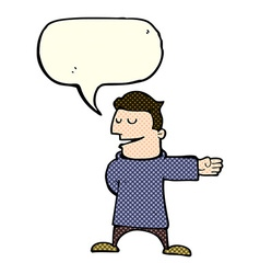 Cartoon man gesturing direction with speech bubble vector
