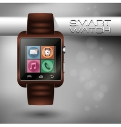 Modern shiny smart watch with leather bracelet vector