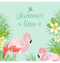 Tropical background with flowers and pink flamingo vector