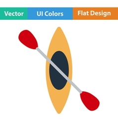 Flat design icon of kayak and paddle vector