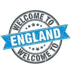Welcome to england blue round vintage stamp vector