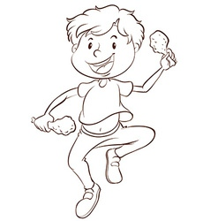 A plain drawing of a boy eating vector image