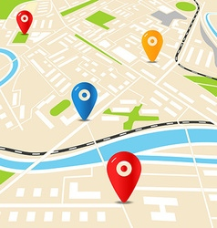 Abstract city map with color pins flat design vector