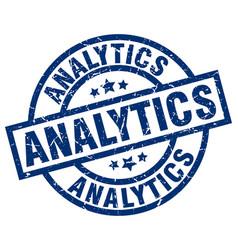 Analytics blue round grunge stamp vector