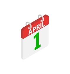 April 1 April Fools Day calendar icon vector image