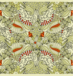 Beige and orange floral doodle pattern vector