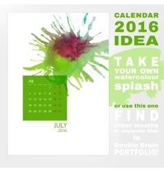 Calendar 2016 watercolor vector image