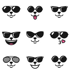 Cat faces with different emotions and sunglasses vector