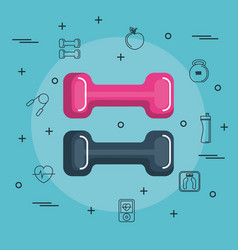 Colorful dumbbells design vector