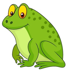 Cute green frog cartoon vector