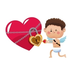 Cute little cupid valentine day opened heart lock vector