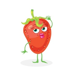 Cute strawberry on a white background character vector