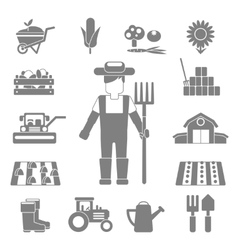 Farmer icons set vector