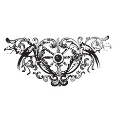 Floral motif have a birds design vintage engraving vector