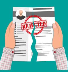 Hands torn in half cv profile rejected resume vector
