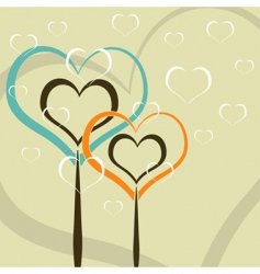 hearts as trees vector image vector image