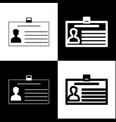 Identification card sign black and white vector