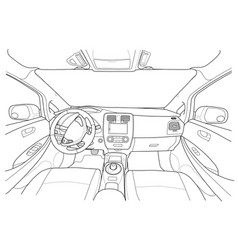 Interior of electromobile with automatic gearbox vector