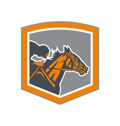 Jockey horse racing shield retro vector