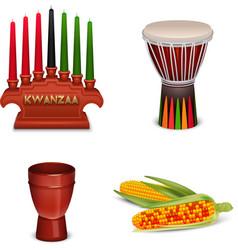 Kwanzaa holiday 4 colorful symbols collection vector