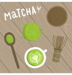 Matcha tea set on the wooden background vector
