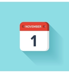 November 1 isometric calendar icon with shadow vector