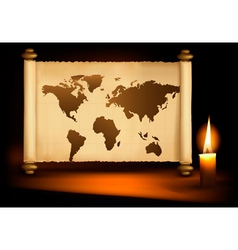 old map with candle vector image