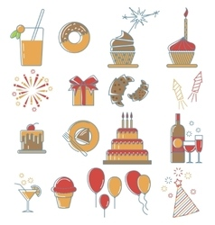 Party line icons collection vector image vector image
