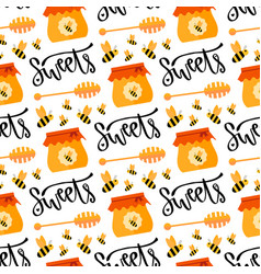 pattern with honey and bee seamless sweet vector image vector image