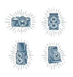 Retro photo cameras set hand drawn vintage vector