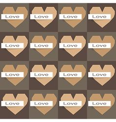 Seamles origami hearts on dark background vector image