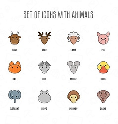 Set of icons with animals Cow deer lamb pig cat vector image